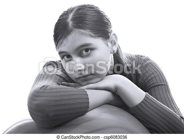 young girl on a white - csp6083036