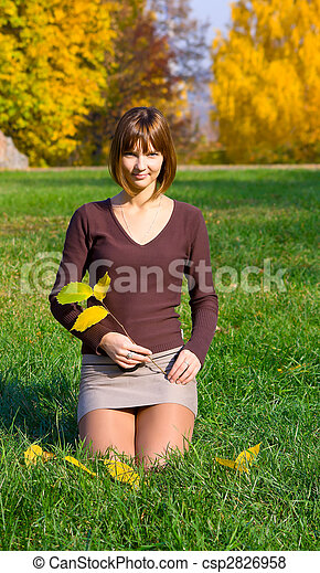 young girl on green grass - csp2826958