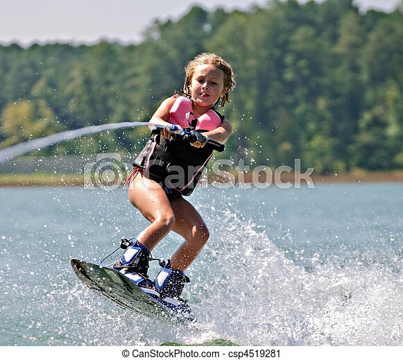 Young Girl on Wakeboard - csp4519281