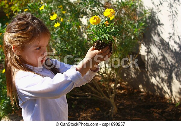 Young girl planting flowers in the garden. - csp1690257