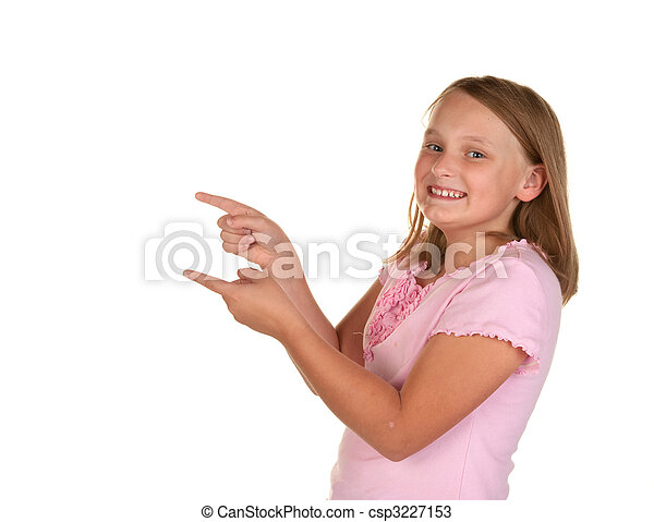 young girl pointing on white - csp3227153