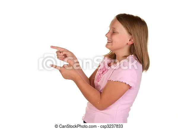 young girl pointing on white - csp3237833