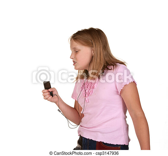 young girl singing dancing with mp3 - csp3147936