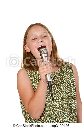 young girl singing isolated on white - csp3129426
