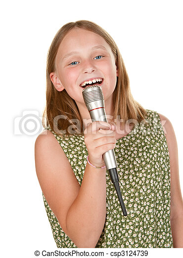 young girl singing isolated on white - csp3124739