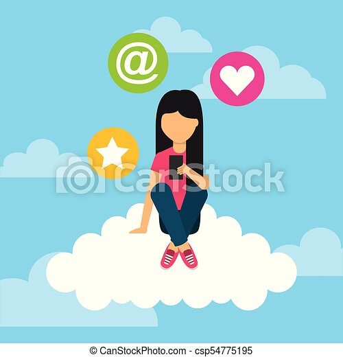 young girl sitting in cloud with mobile social media icons