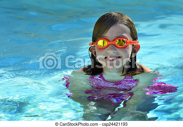 Young Girl Swimming with Goggles - csp24421193