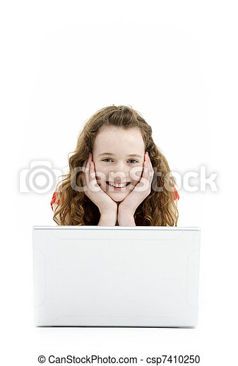 Young Girl Using Laptop Computer - csp7410250