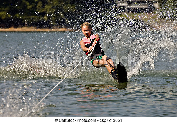 Young Girl Water skiing - csp7213651