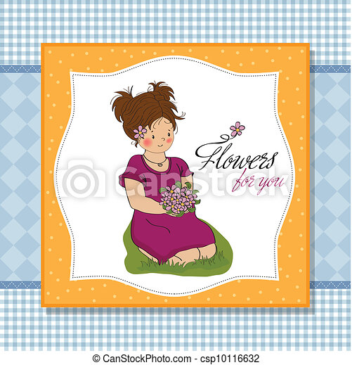Young Girl With A Bouquet Of Flowersbirthday Greeting Card
