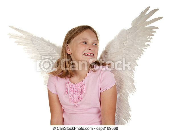 young girl with angel fairy wings - csp3189568