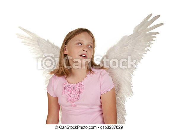 young girl with angel fairy wings - csp3237829