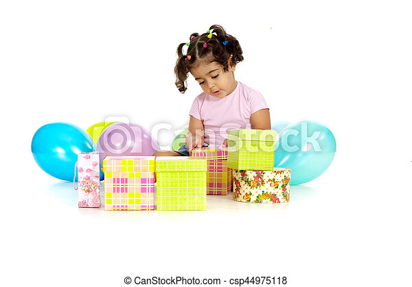 Young girl with balloons and gifts on a white background stock young girl with balloons and gifts on a white background csp44975118 negle Choice Image