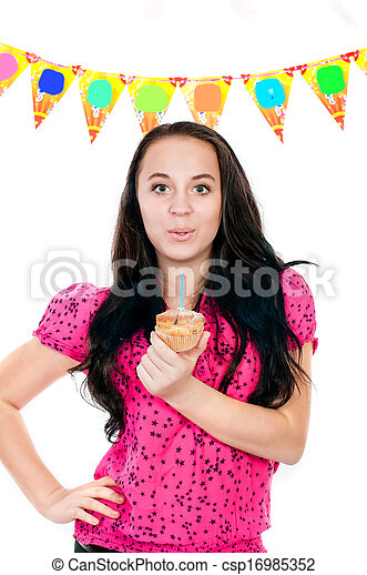 Young girl with cake in hand - csp16985352