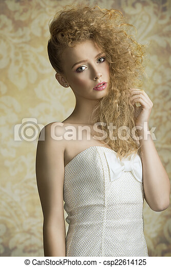 Young girl with curly hair - csp22614125