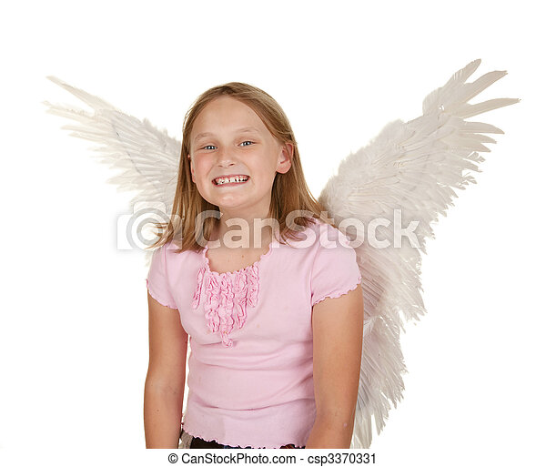 young girl with fairy wings - csp3370331