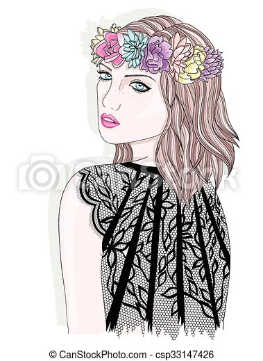 Young Girl With Flower Crown Fashion Illustration