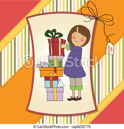 young girl with gift - csp9232776