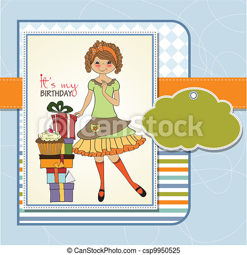 young girl with gift - csp9950525
