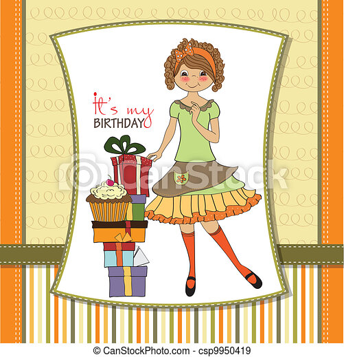 young girl with gift - csp9950419