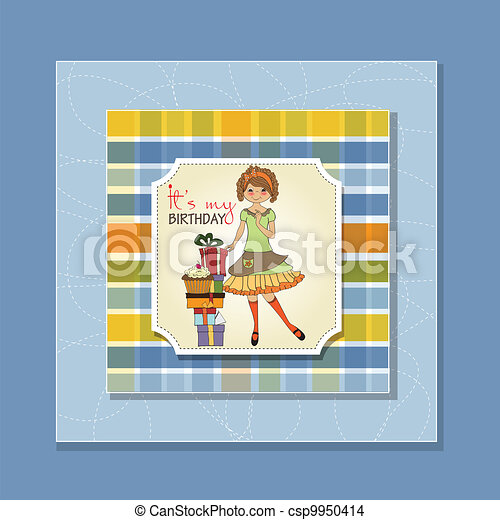 young girl with gift - csp9950414