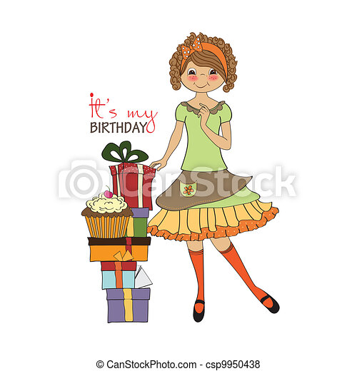 young girl with gift - csp9950438