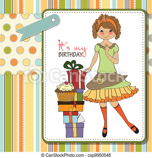 young girl with gift - csp9950548
