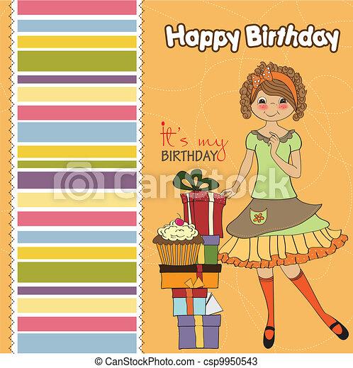 young girl with gift - csp9950543