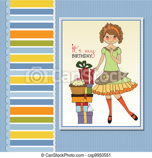 young girl with gift - csp9950551