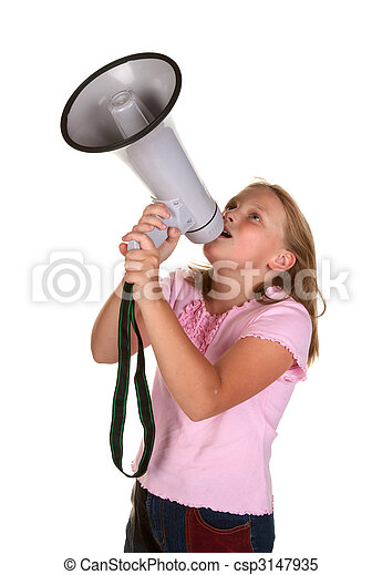 young girl with megaphone - csp3147935
