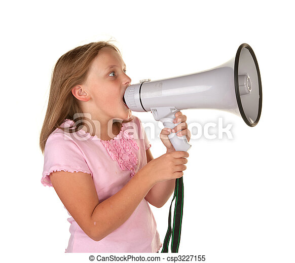 young girl with megaphone - csp3227155