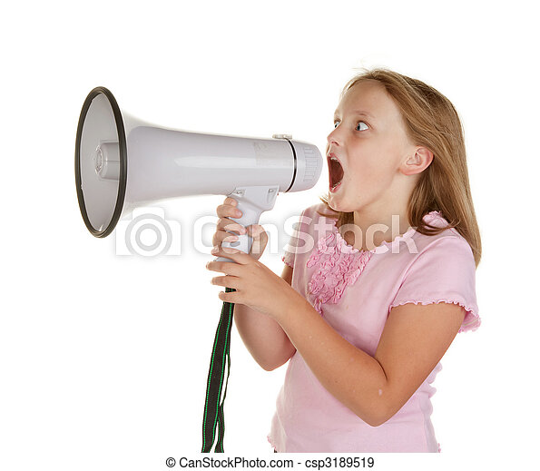 young girl with megaphone - csp3189519