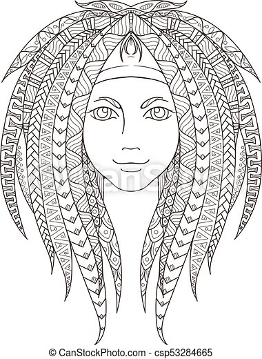 Young girl with patterned zentangle dreadlocks. Page for coloring. Ornate  hairstyle.