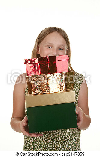 young girl with presents - csp3147859