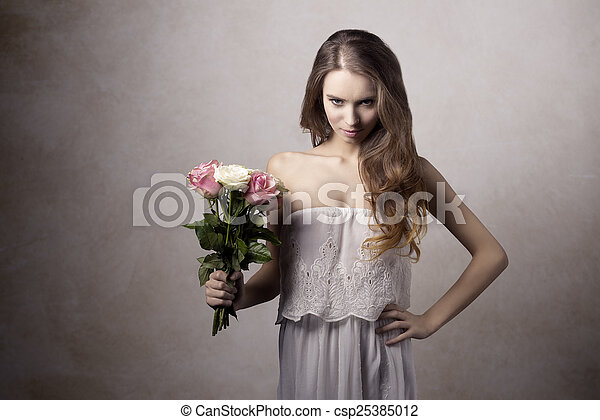 Young girl with roses - csp25385012