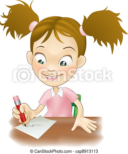 Young girl writing at her desk - csp8913113