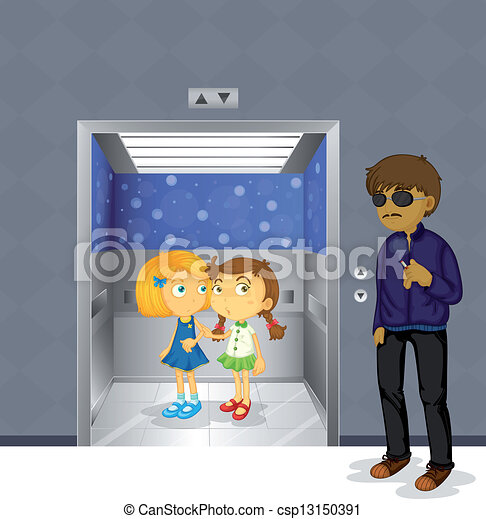 Young girls inside the elevator and a scary man outside - csp13150391