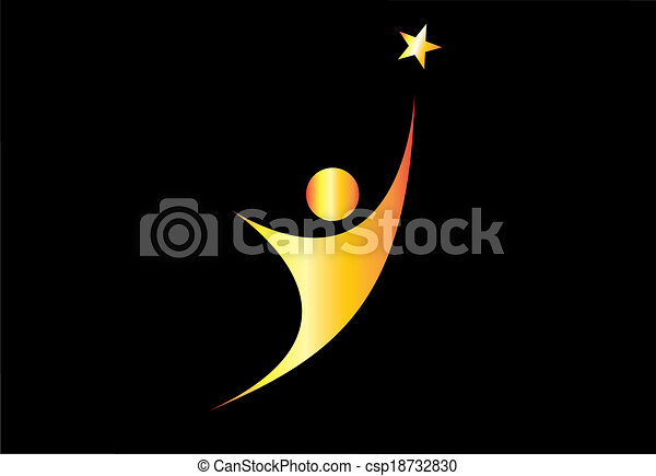 young gold person aiming for excellence achievement success star. youthful golden person aiming for the shining star & achieve ultimate greatness or dream goal or perfection in life - concept symbol - csp18732830
