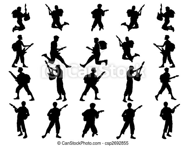 young guitarist collection-silhouette - csp2692855