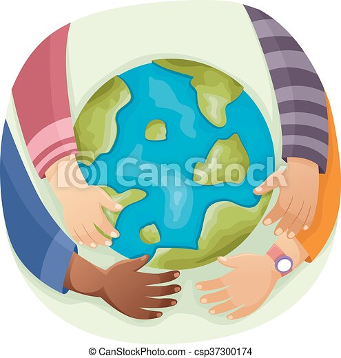 Young Hands Earth Globe - csp37300174