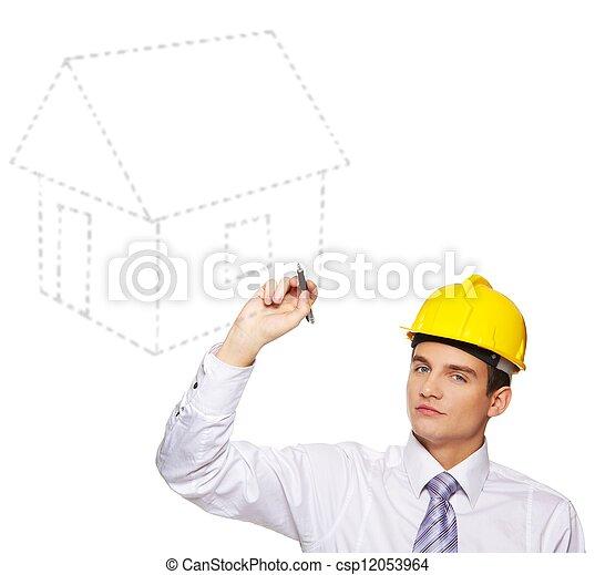 Young handsome builder - csp12053964