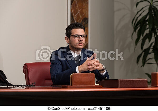 Young Handsome Businessman In Blue Suit - csp21451106