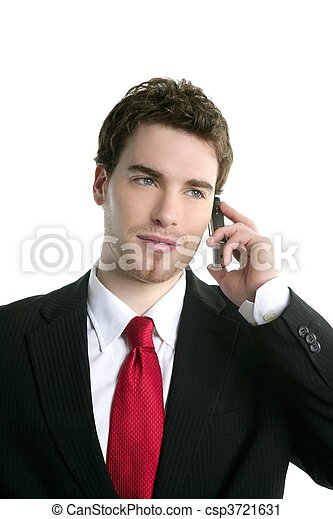 young handsome businessman suit talking phone - csp3721631