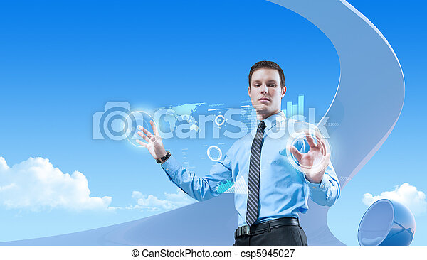 Young handsome businessman using futuristic hologram interface in the bio style interior. Future concepts collection. - csp5945027