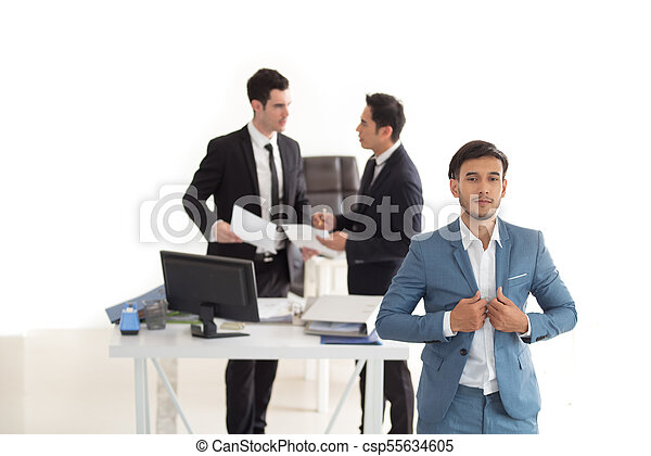 Young handsome businessman with blue suit - csp55634605