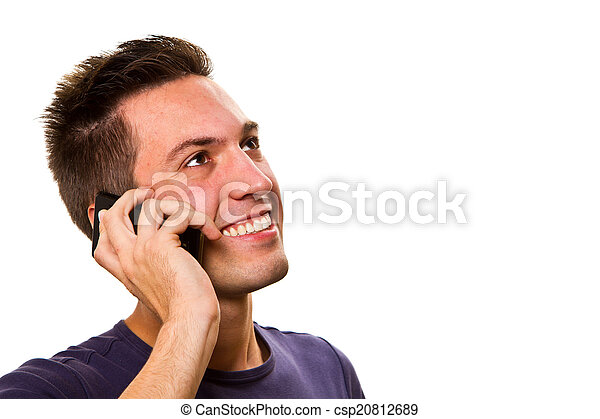 young handsome man at the phone  - csp20812689