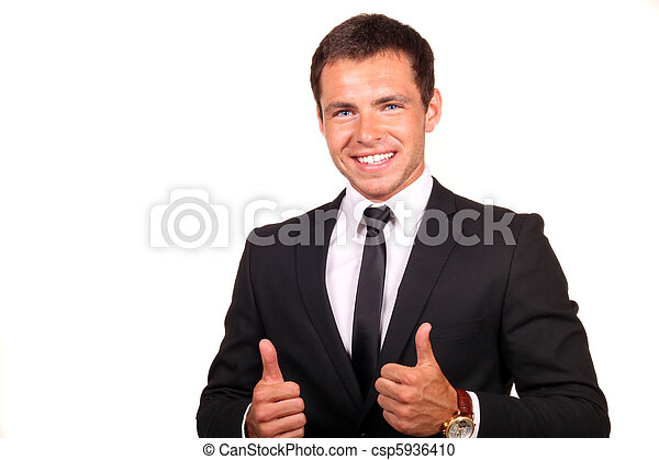 Young happy business man going thumbs up, isolated on white - csp5936410