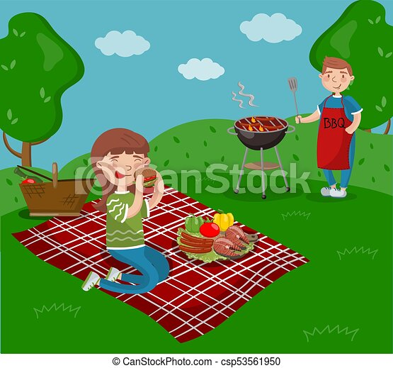 Young happy couple cooking and eating bbq while sitting in the garden, barbecue party in summer holiday cartoon vector Illustrations - csp53561950