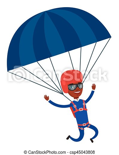 young happy man flying with parachute african american man rh canstockphoto com parachute vector images parachute vector free
