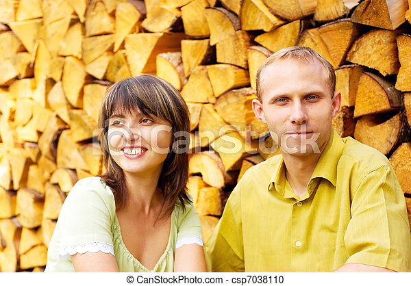 Young happy smiling attractive couple together outdoors - csp7038110